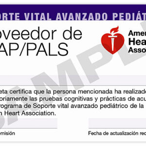 Pediatric Advanced Life Support (PALS) Course Completion Card (3-Card Sheet, Spanish)