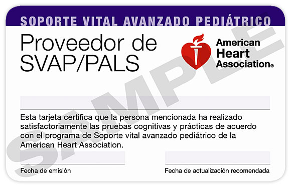 Pediatric Advanced Life Support (PALS) Course Completion Card (3-Card Sheet, Spanish) 1